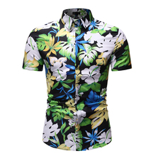 MarKyi 2019 Summer Shirt Men Casual Short Sleeve Men's Floral Shirts Hawaii Casual Male Flower Print Beach Holiday Camisa