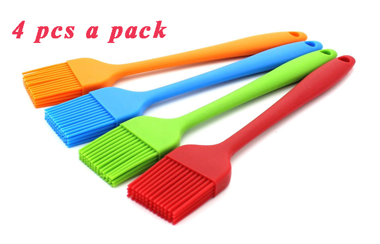 Set of 4 Pcs Non Stick Silicone Basting Brushes for Grilling BBQ Heat Resistant Oil Grill Barbecue Brushes Baking Brushes