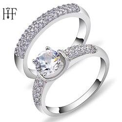 2 adet Düğün Kristal Çift Yüzük Erkekler ve Kadınlar için Hediyeler Kadınlar için Takı Dostluk Yüzük Bijuteri Ringen Bijoux