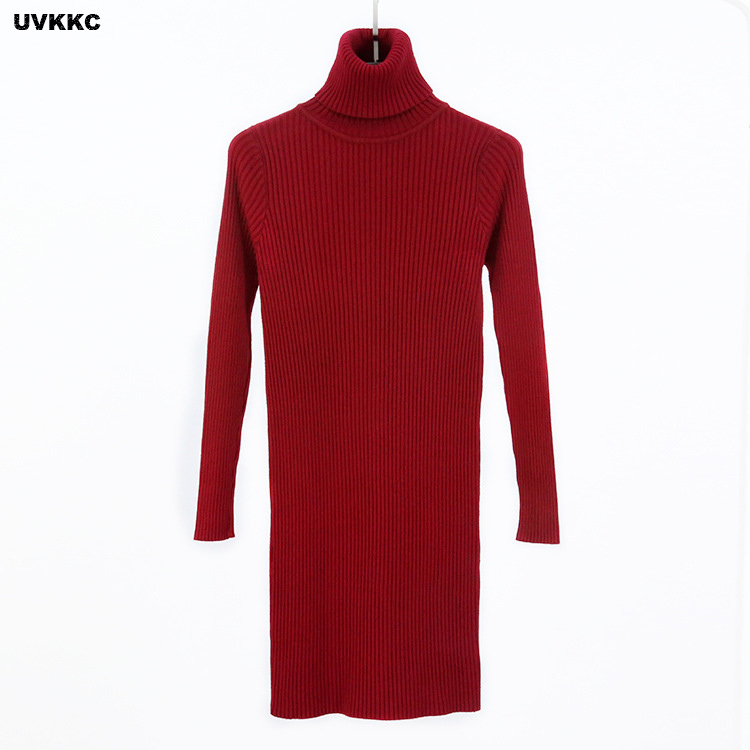 Women Autumn And Winter Sweater Dress Female Knitted Bottomming Dress Warm Slim Elastic Sexy Solid Turtleneck Sweater Dresses skullies gfs hot sale female tide leather braids knitted cap autumn and winter women s curling ear warmers headgear 1866784