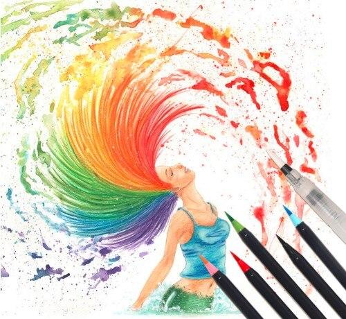 20 Color Set Writing Brush Soft Pen Water Color Art Marker Pen ...