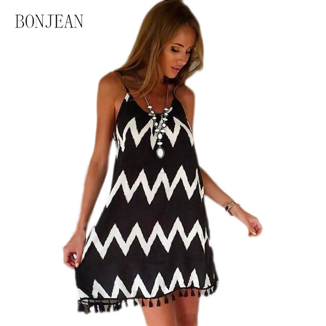 BN05  2017 Womens Summer New Fashion Wave Pattern Tassel Sling Dress Sexy  Beach Miniskirt Loose