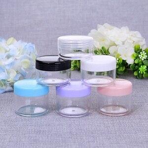 Image 5 - Sedorate 50 шт./лот, высококачественные пластиковые мини банки 10 г 15 г 20 г PS пустые круглые банки для крема, тени для век, контейнеры для макияжа ZM015
