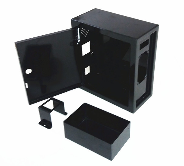 black iron box with money case for coin acceptor operated project