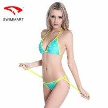 SWIMMART bikini lace thong stretch swimsuit swimwear women high waist bikini bathing suit swimming suit bikini push up bikinis black bikini suit with lace up design