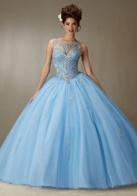 abddc9fd041 Ball Gown Light Blue Quinceanera Dresses Full Beading Bodice Open Back  Sweet 16 Year