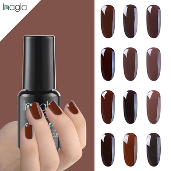 Inagla 8ml Braun Serie Gel Tränken Weg 12 Reine Farbe Nail art Primer UV & LED Lack Top basis Mantel Semi Permanent image