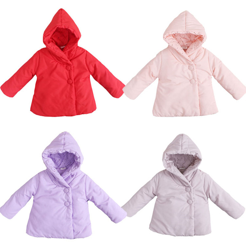 Girls Kids Hooded Polka Dot Warm Coat Jacket Winter Thick Outwear Tops Age 2-5Y