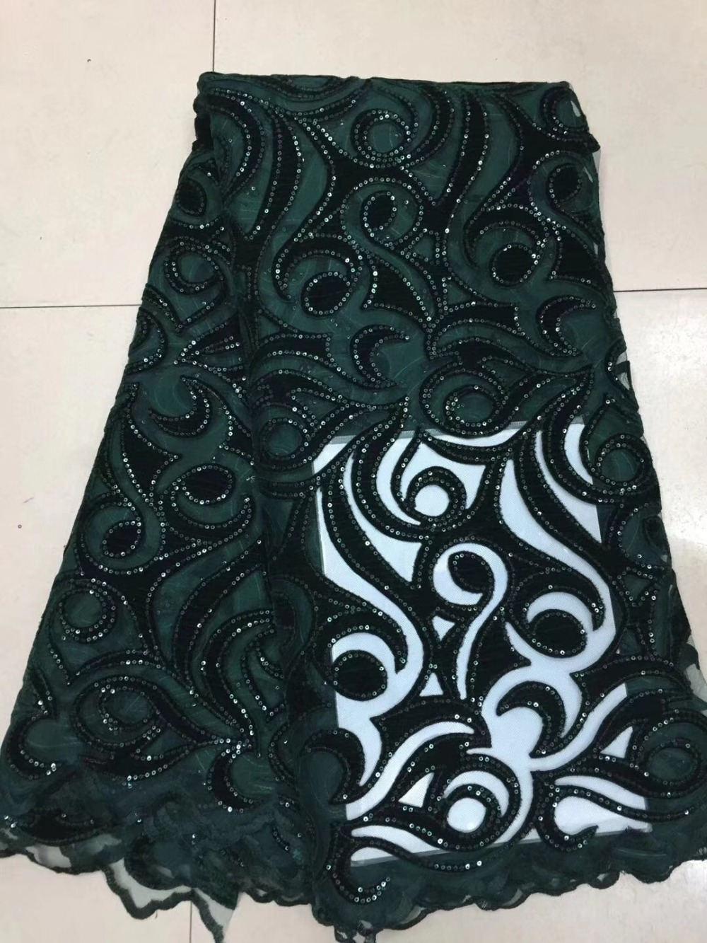 5yards lot 2018 New High quality emerald green Velvet African tulle lace French net lace