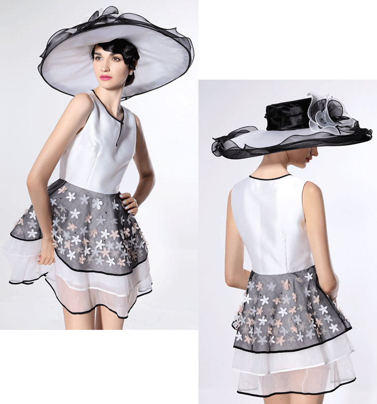 e0967d178dc White kentucky derby hats for tea party dresses ladies church hats for black  women wide brim hat organza chapeau femme fancy hat-in Fedoras from Apparel  ...