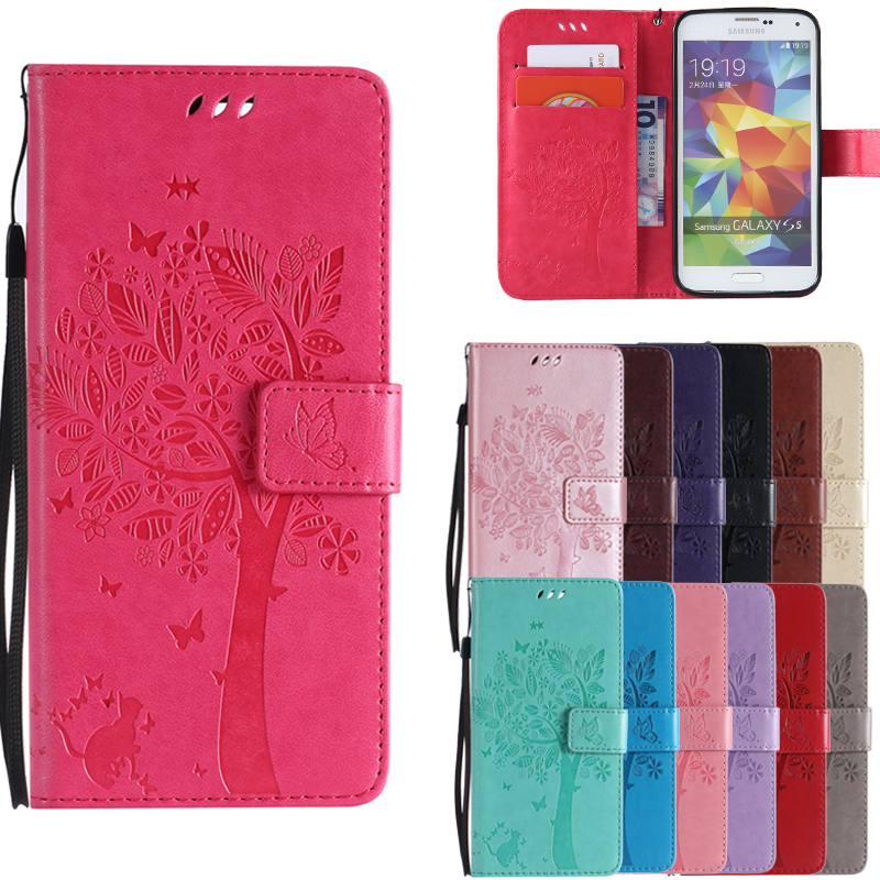 Fashion Cat & Tree PU Leather <font><b>Flip</b></font> Magnet <font><b>Case</b></font> For <font><b>Samsung</b></font> X COVER 4 Xcover Note 3 4 5 7 <font><b>S3</b></font> S4 <font><b>Mini</b></font> S5 S7 S6 Edge Plus G390 image