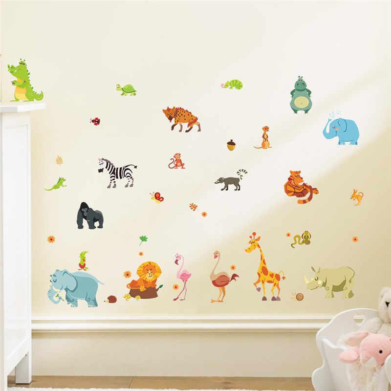 الغابة الحيوانات ملصقات جدار للأطفال غرف سفاري الحضانة غرف الطفل ديكور المنزل المشارك القرد الفيل الحصان صور مطبوعة للحوائط