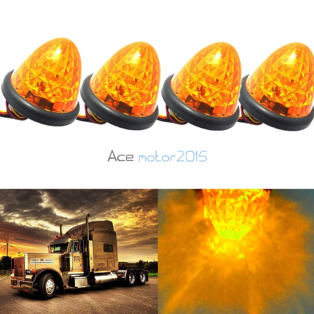 CYAN SOIL BAY 4X 3 16-LED Truck Side Marker Lights Amber Beehive Dome Clearance Cab Roof 24V