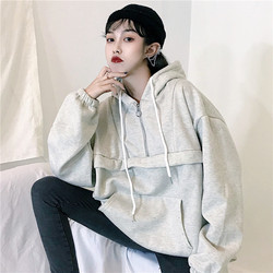 Hoodies Women Hooded Loose Solid Colour Simple All-match Korean Style Winter Thicker Plus Velvet Warm Sweatshirts Womens Trendy 4