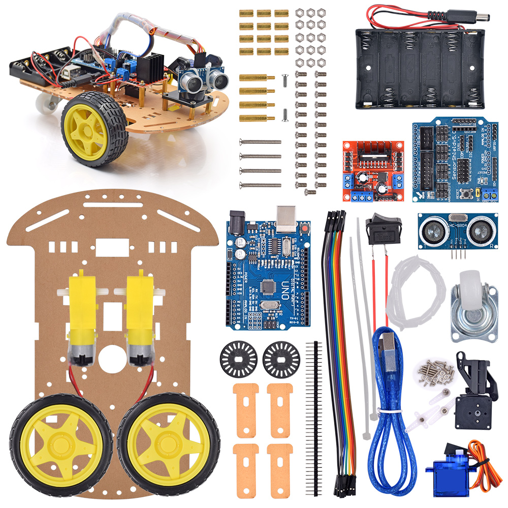 New Avoidance Tracking Motor Smart Robot Car Chassis Kit Speed Wiring Battery Box Encoder 2wd Ultrasonic Module In Replacement Parts Accessories From Consumer