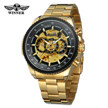 Drop Shipping New Arrival Mens Automatic Watch Stainless Steel Bracelet Golden Color Skeleton Original Wristwatch
