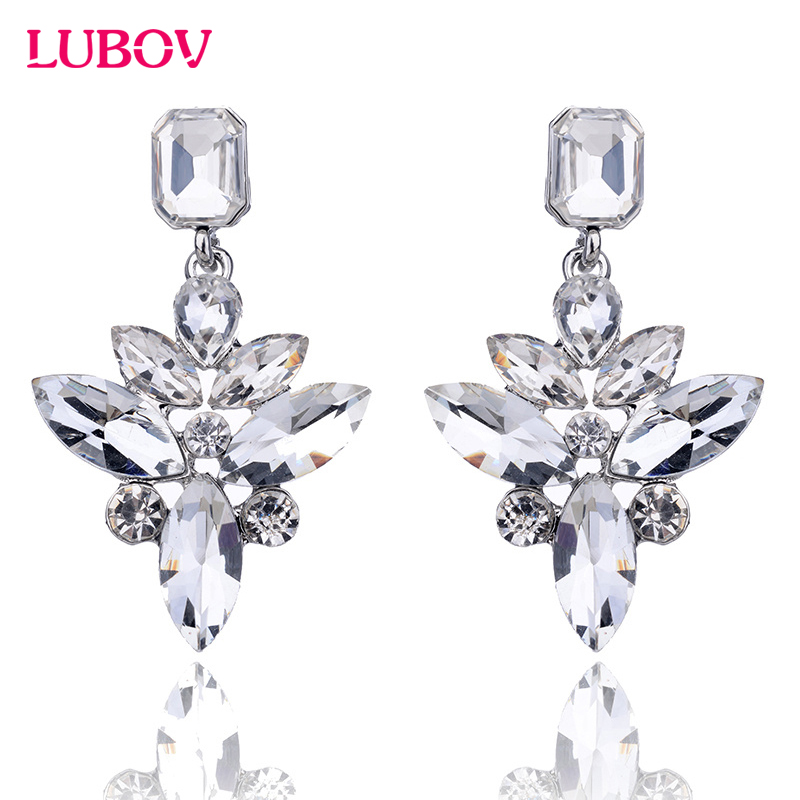 2018 New Arrival Elegant Floral Design Pendant Earrings Crystal Rhinestone Piercing Stud Earrings Women Gift Jewelry