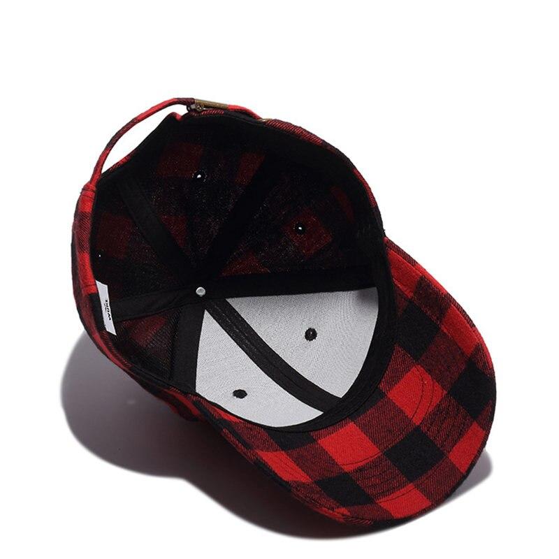 4b07e88b16e Red and Black Plaid Baseball Caps Dad Hats for Men Hip Hop Cap Sun Hat for  Women Bone Gorras Touca High Quality k323