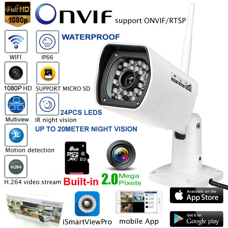 2 0MEGA 1080P FULL HD WIFI Camera P2P outdoor waterproof ip66 Surveillance Security Camera IP Camera