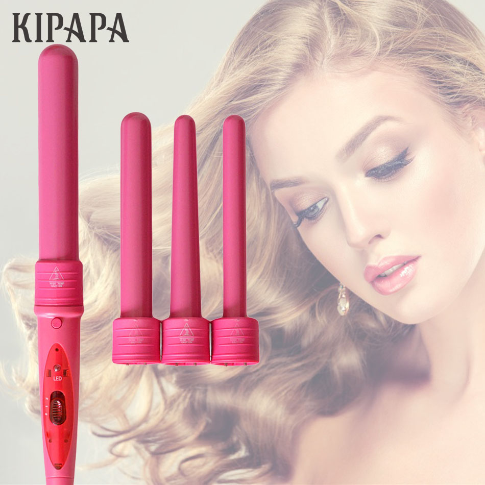 KIPAPA Pro 4 Part Curlers 1.25 Inch Interchangeable Hair Curling Iron 19-32MM Ceramic Hair Curler Set with Heat Resistant Glove