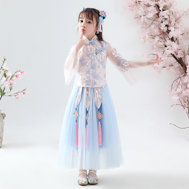 Fairy Summer Dress Chinese Style Children's Party Dress Han Dress Sky Blue Girl's Ancient Style Dress(China)