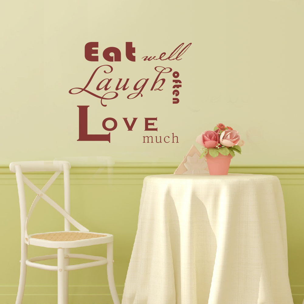 Eat Well Laugh Often Love Much Kitchen Border Vinyl Wall Decal Quote ...