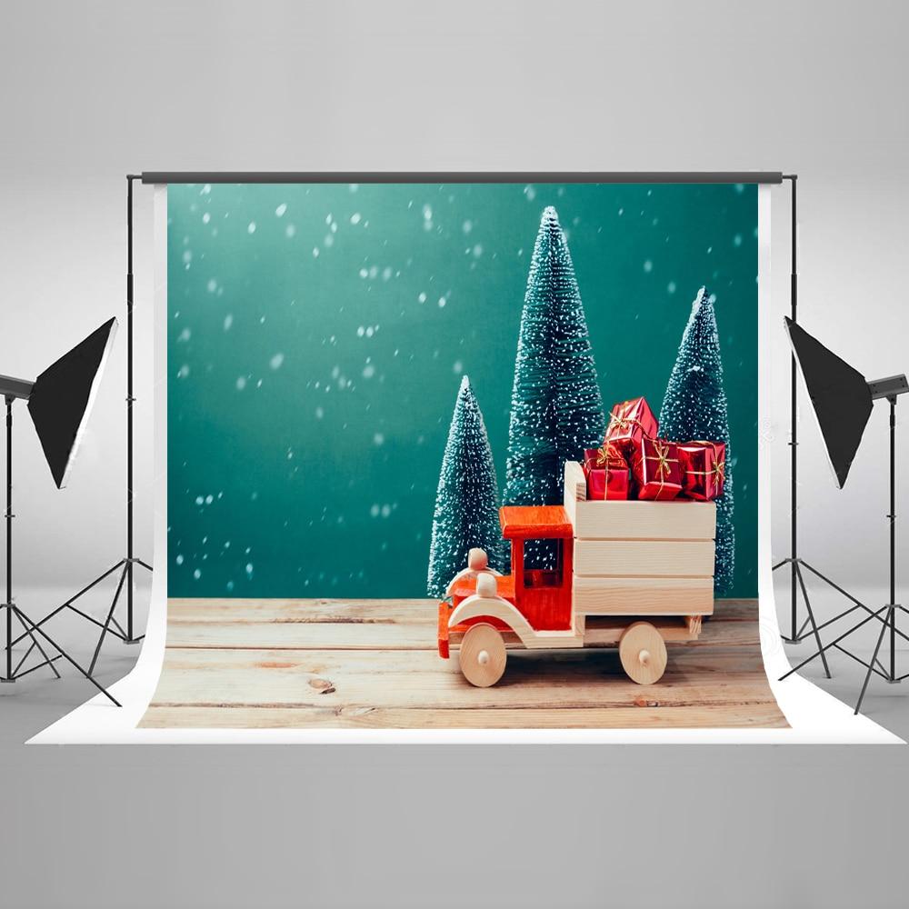 Kate Christmas Photography Backdrops With Christmas Tree 10x10ft Photography Background Wood Car Children Photo Backdrop