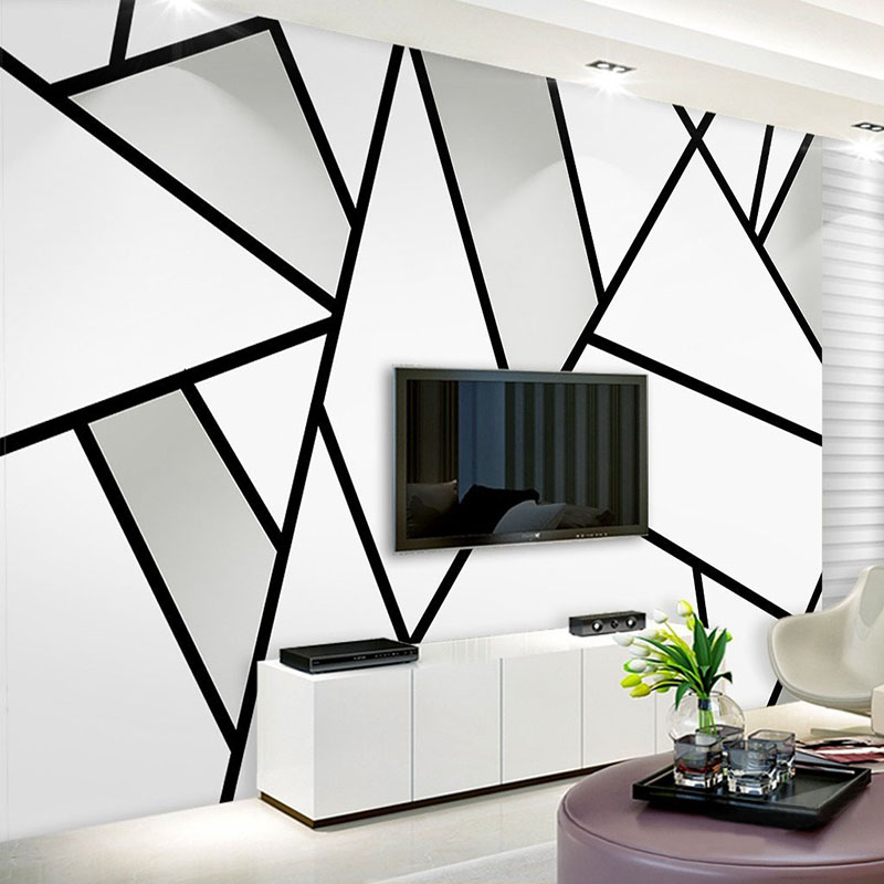 Moderne Einfache 3D Stereo Schwarz Und Weiß Geometrie Linie Wandbild Tapete  Wohnzimmer TV Sofa Studie Büro