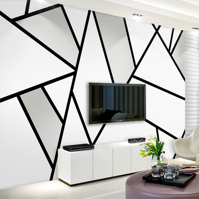 Modern simple 3d stereo black and white geometry line for Mural 3d simple