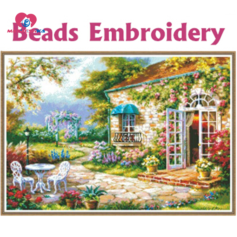 64cm 45cm Beads embroidery Accurate printed fields and gardens full beadwork crochet hook hobby manualidades knitting