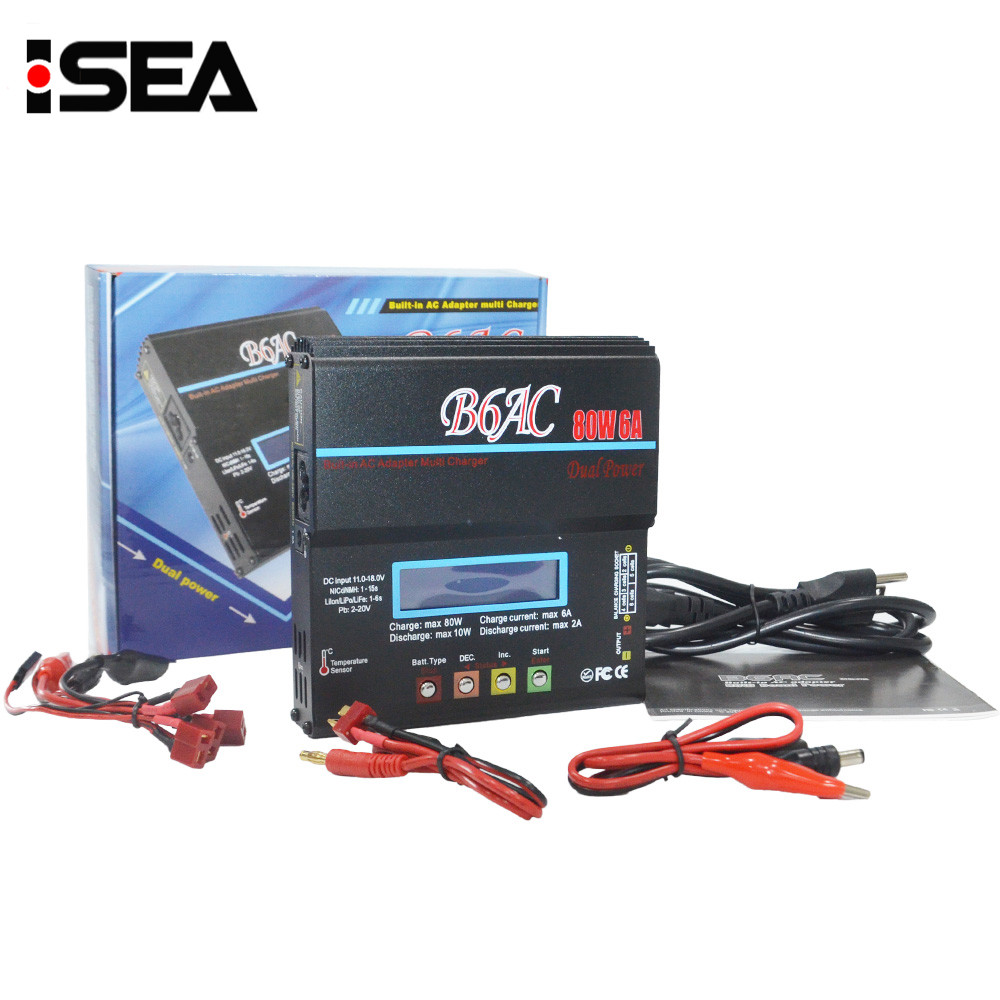 iMax B6 AC B6AC 80W 6A RC Battery Balance Charger Discharger for 1-6s LiPo/LiFe/Lilon Battery With Digital LCD Screen ...