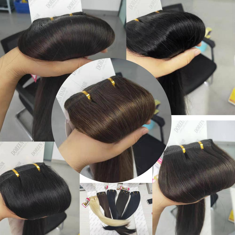 Doreen 200G European Hair Machine Made Remy Straight Clip In Hair Extensions Human Hairpieces Dark Color Full Head Set 14