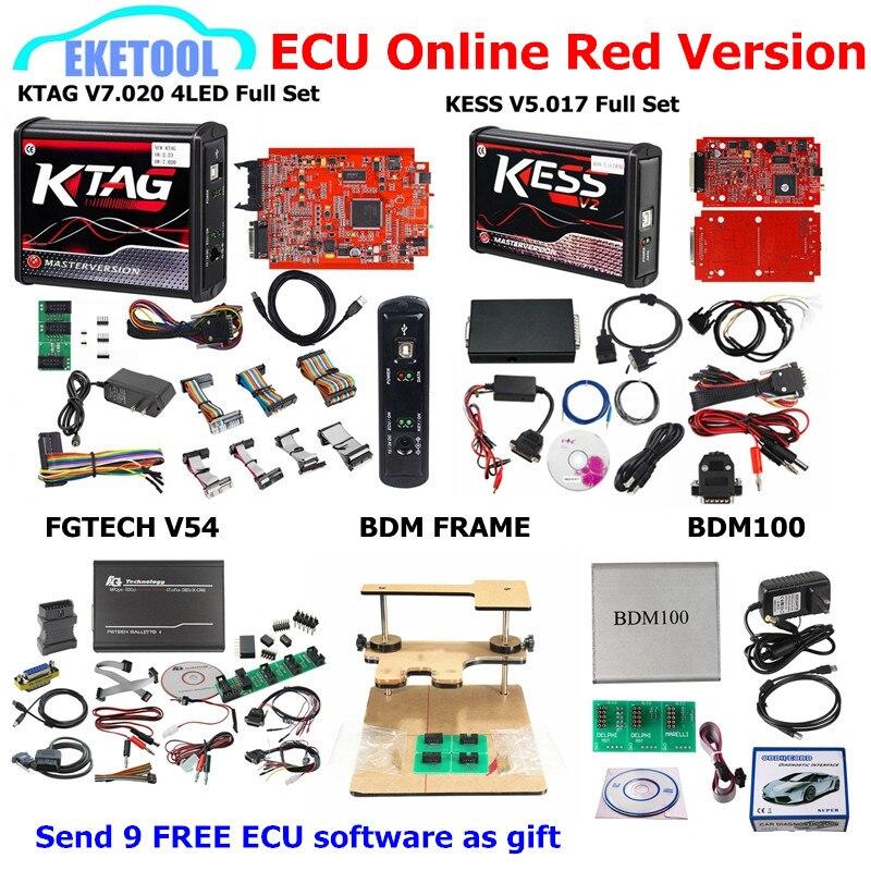Red PCB EU Ver. KESS V5.017 KTAG V7.020 SW2.23 FGTECH V54 BDM RAHMEN BDM100 V1255 Hinzufügen 9 Kostenloser ECU SW als GESCHENK KESS 5,017 KTAG 7,020