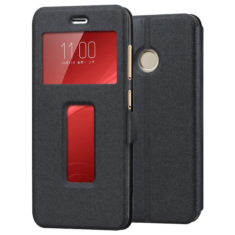 huge discount 98e55 c2cc3 US $9.79 |zte nubia z11 mini s flip window case cover for zte nubia z11  mini s protective case back cover Silicone window black gold case-in Flip  ...