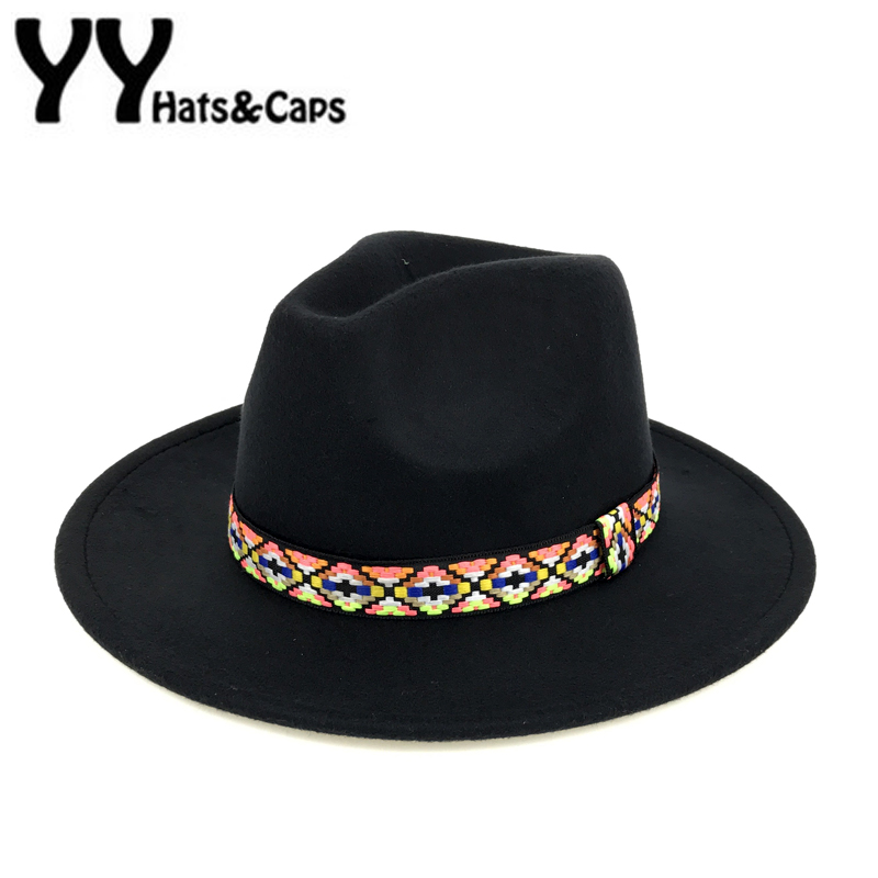b890d7989f3ade New Trilby Hats Women Wool Fedora With Colorful Ribbon Vintage Trilby Men  Hats Panama Chapeaux Feutre