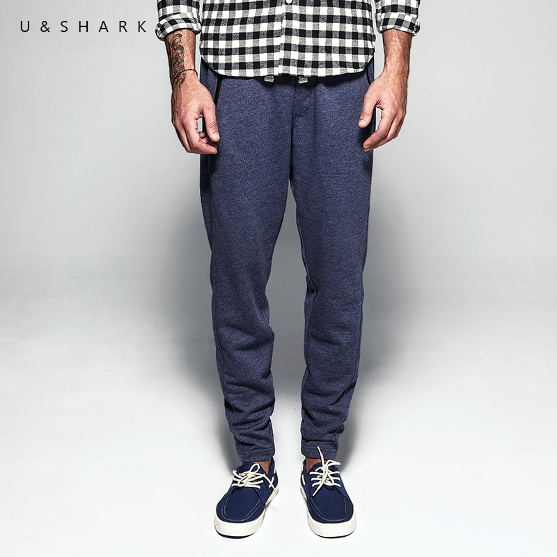 U&SHARK 2018 Navy Blue Sweatpants Men Brand Clothing Top Quality Cotton Pants Male Slim Fit Knitted Harem Pants Casual Trousers