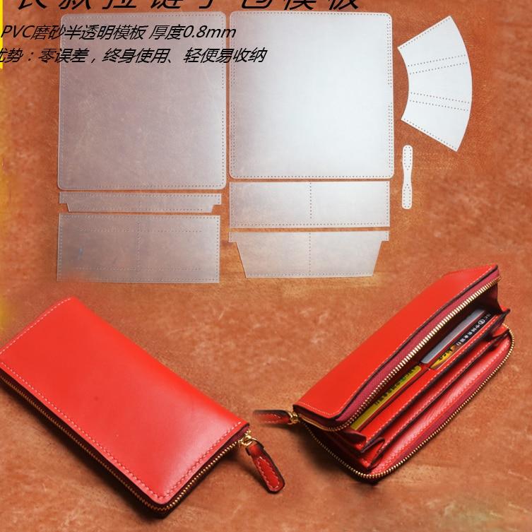 DIY üç kadın deri fermuar cüzdan pvc şablon deri zanaat dikiş desen aksesuarları