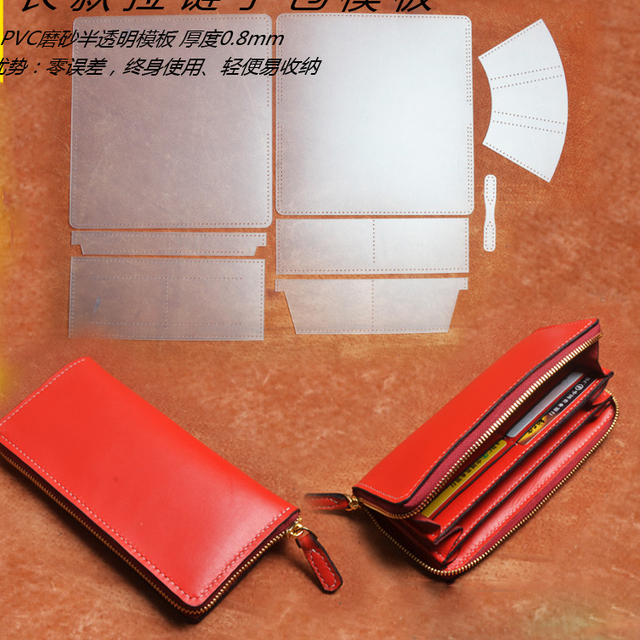 DIY three women leather zipper wallet pvc template leather craft