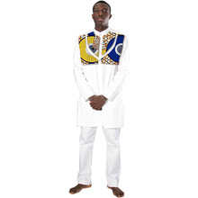 Здесь можно купить  Customized africa men white cotton print patchwork tops+trousers african clothing for men long sleeve tshirt and pant set