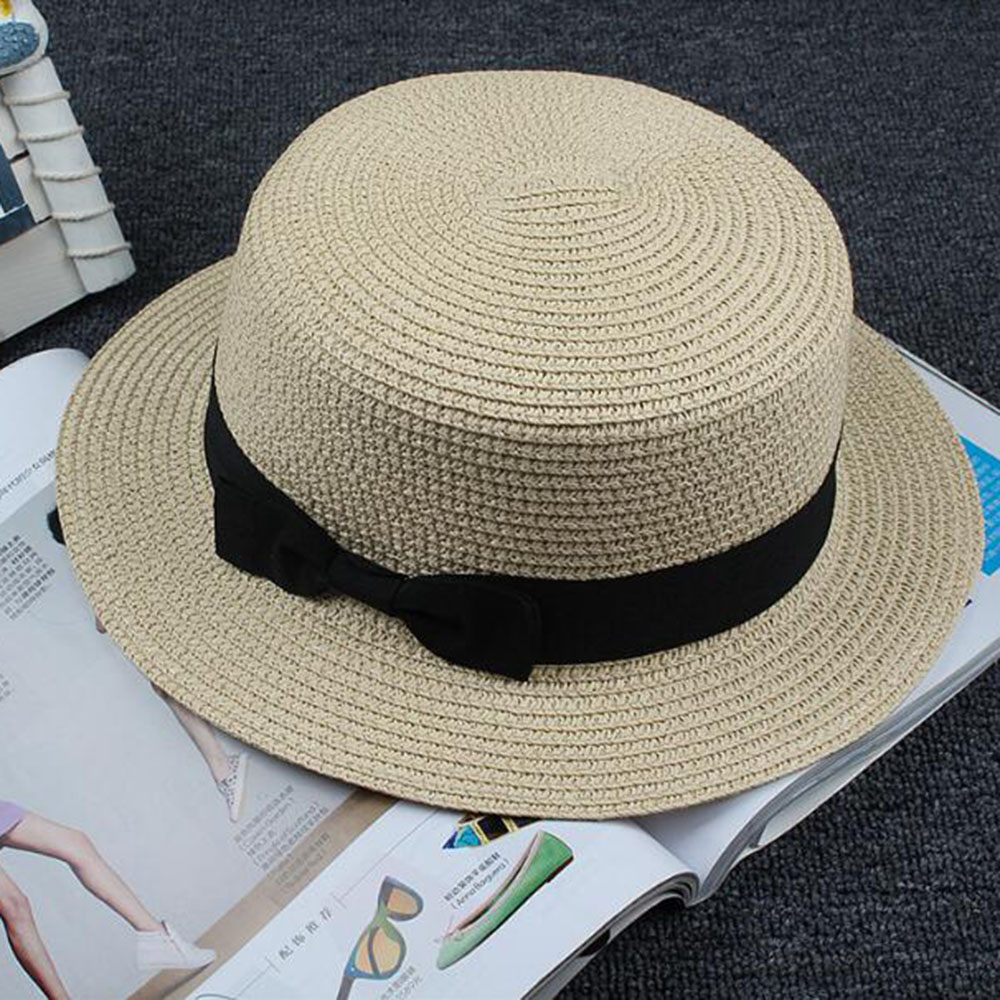 HEALMEYOU Lady Boater sun hat Ribbon Round Flat Top Straw Fedora Panama Hat  summer caps for women straw hat women s hats gorras - TakoFashion - Women s  ... 861828f55d5