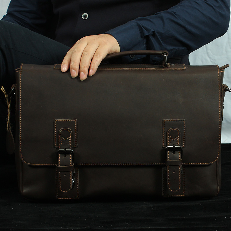 Nesitu Dark Brown Vintage Real Skin Crazy Horse Leather Genuine Leather Men Messenger Bags Man Briefcase Portfolio #M1082 men travel bags crazy horse cow skin real leather man bags fashion design men shoulder bags