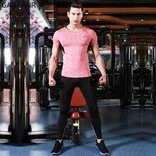GANYANR Mens Sport Suits Jogging Running Set Compression T Shirt Gym Sportswear Basketball Pants Workout Tights Soccer Training