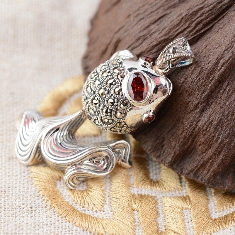 Cerf roi bijoux en argent en gros 925 en argent Sterling Style Antique pendentif pendentif simple femelle poisson rouge