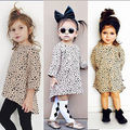 Fashion Baby Kids Girls Casual 3/4 Long Sleeved Leopard Cotton Short Dress 0-5T