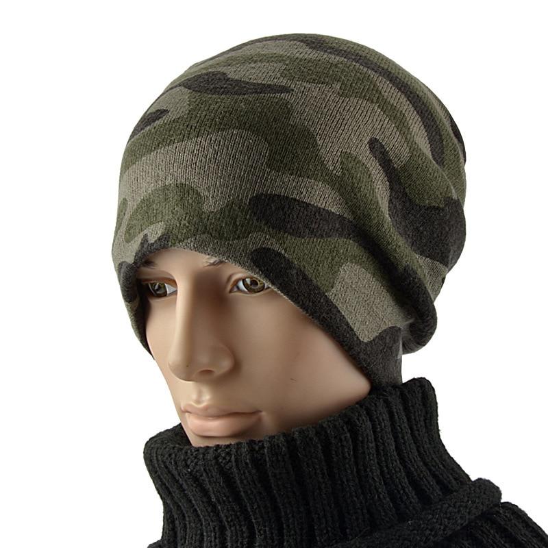 New Fashion Men Warm Snow Winter Casual Beanies Solid 3 Colors Favourite Knit Hat Cap Hip Hop Casual Male Bonnet Camouflage Cap