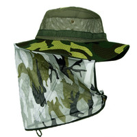 Fishing Insect Proofing Breathable mesh Camouflage Bucket Hats, Military Mens Tactical caps outdoor topee Shade hat Size 56-60cm