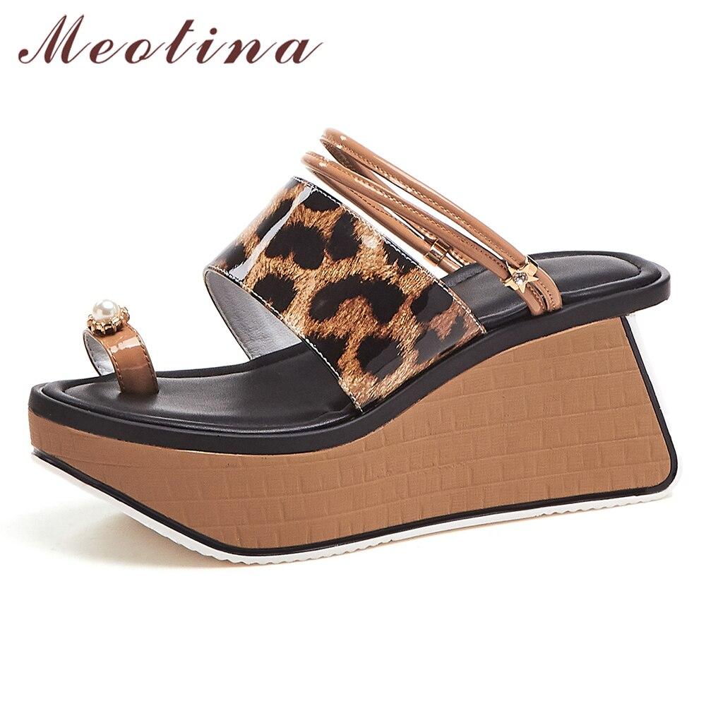 Meotina Women Slides Summer Shoes Natural Genuine Leather Platform Wedges High Heel Shoes Leopard Flip Flops
