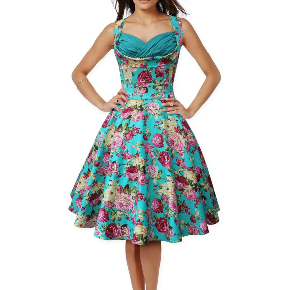 Audrey Hepburn style vintage sleeveless ruched bust big swing floral ...