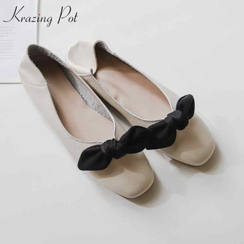krazing pot 2019 genuine leather square toe slip on sweety butterfly-knot glove shoes women ballet dancer casual cozy flats L95
