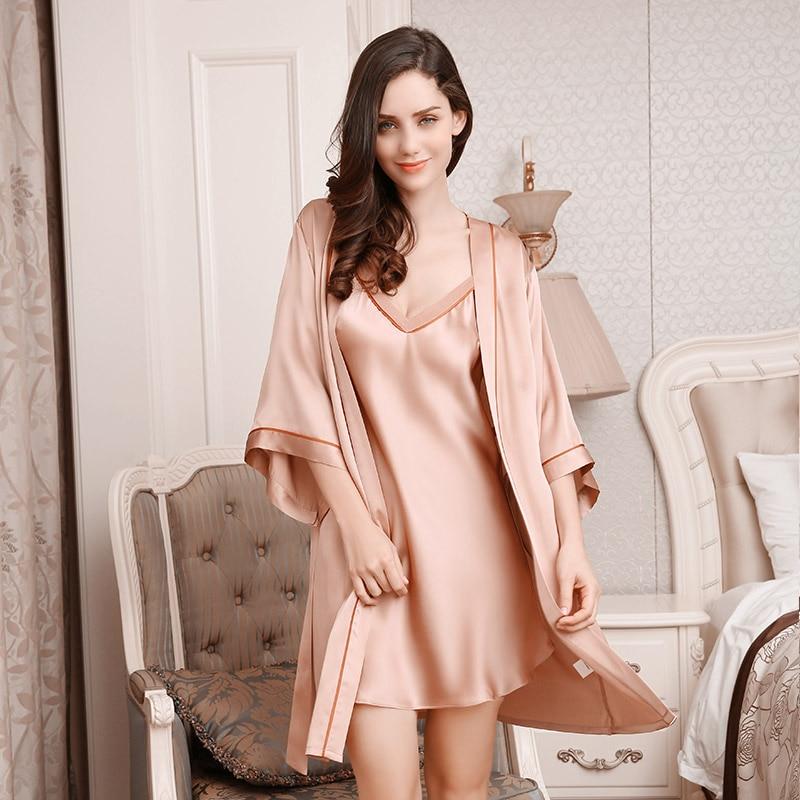 Sexy Silkworm Silk Sleeping Robe Two-Piece Sets Female 100% Silk Sleepwear  Women Soft cb44c21a9